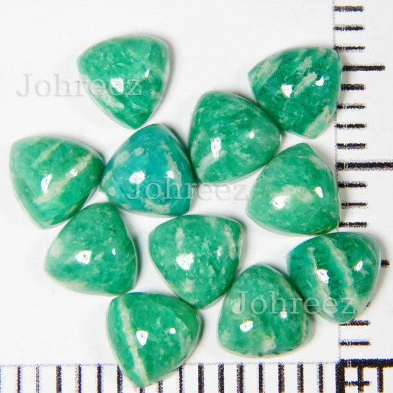Details about  /Gorgeous Lot Natural Amazonite 12X12 mm Trillion Cabochon Loose Gemstone