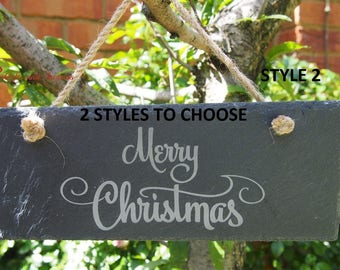 SUPER SPECIAL PRICE - Free Delivery - Slate engraved rectangle hanging sign - Merry Christmas - Christmas sign