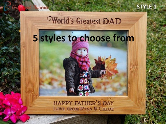 FREE DELIVERY Personalised Engraved Bamboo Photo Frame Hold