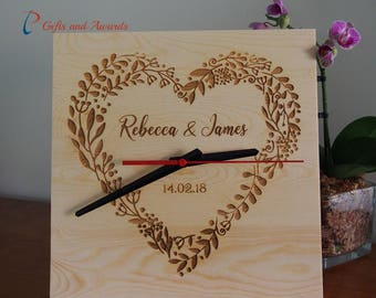 FREE DELIVERY-Personalised wooden clock,square shape - Wedding gift - Anniversary gift- Engagement gift- Valentines gift- Gift for couple