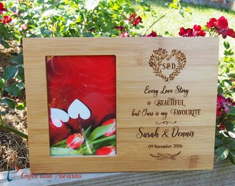 """Personalized Engraved Bamboo photo frame 4x6""""photo-Wedding gift-Engagement gift-Anniversary gift-Every love story is beautiful but ours ..."""