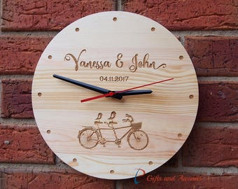 Personalised Engraved Solid pine Wall Clock, ROUND shape dia 30cm-Wedding gift-Gift for couple-Anniversary gift-Valentine's day gift-BICYCLE