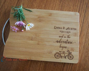 Personalised Engraved Bamboo cutting board S/S handle-Gift for couple/Engagement gift/Wedding gift- so the adventure begins- tandem bicycle