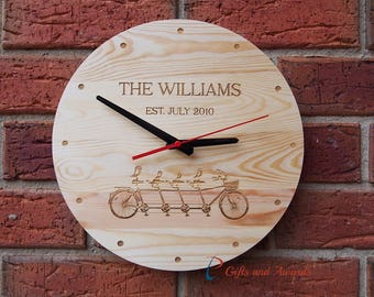 FREE DELIVERY-Personalised Engraved Wall Clock, round shape diameter 30cm - Housewarming gift