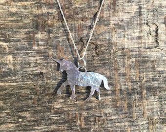 Sterling silver Unicorn pendant necklace. Walking unicorn. Hammered finish.