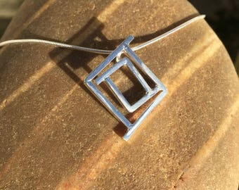 Sterling silver square geometric pendant necklace. Geometric necklace