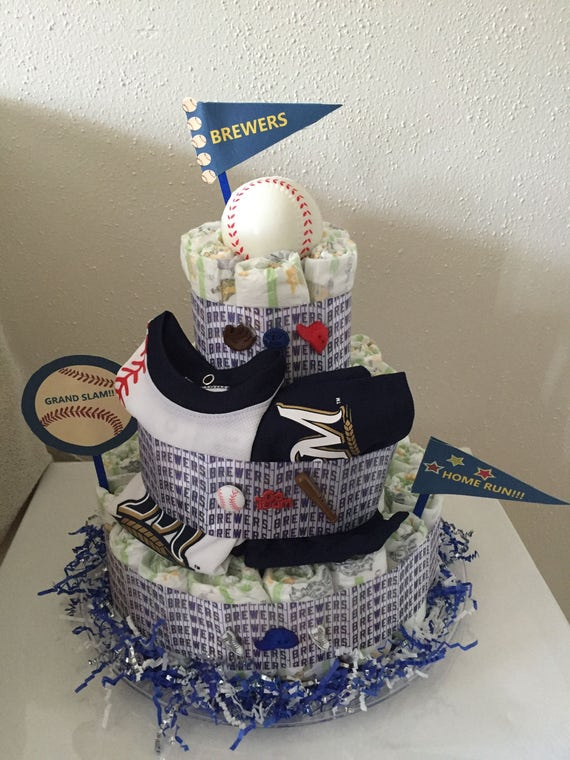 Tremendous Milwaukee Brewers Diaper Cake Etsy Funny Birthday Cards Online Sheoxdamsfinfo