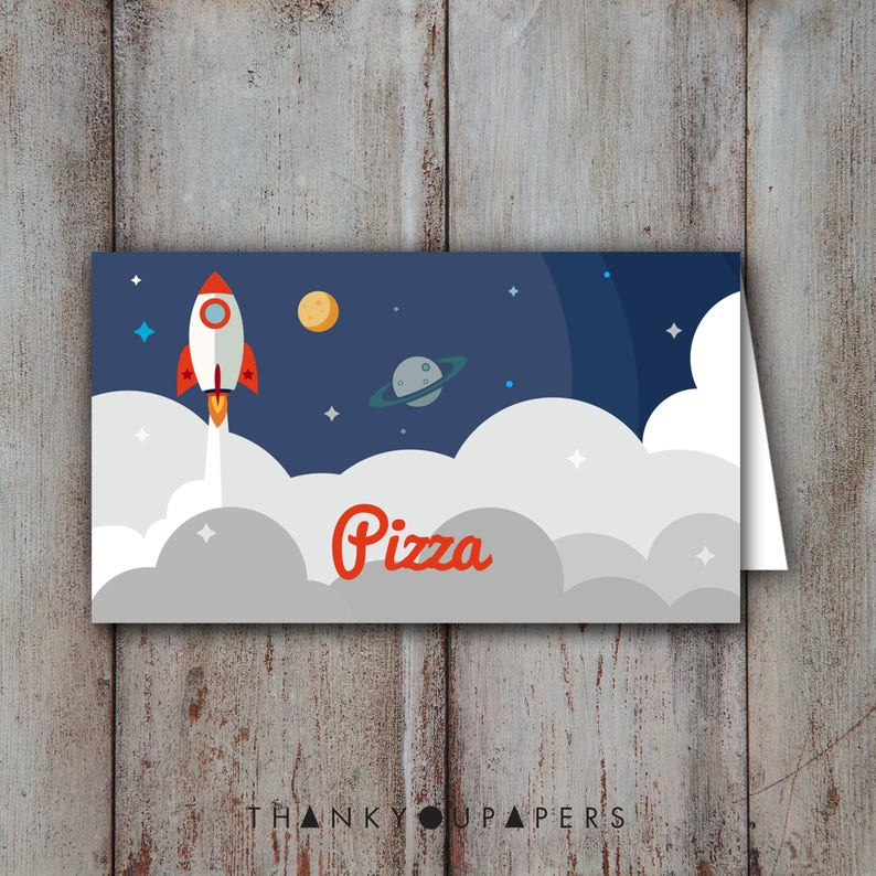 Rocket Space Buffet Cards Name Tent Rocket Place Cards Birthday Party Baby Shower Rocket Space blast off Doljanchi DIY EDITABLE DOWNLOAD