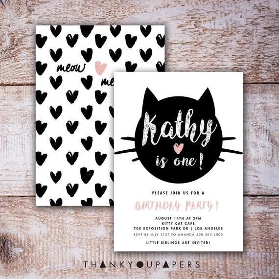 Cat Birthday Invitation Printable Black Party Theme