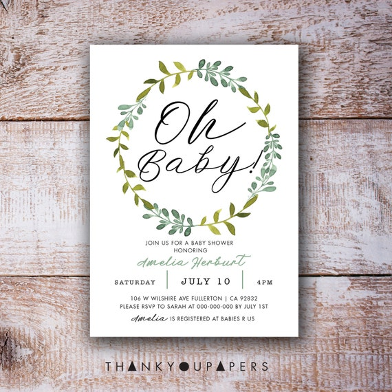 graphic about Baby Shower Printable Invitations named Oh Little one Shower Printable Invitation Leaves Wreath Inexperienced leaf watercolor Kid Shower Invitation, Gender Impartial Youngster Shower Electronic Report Do it yourself