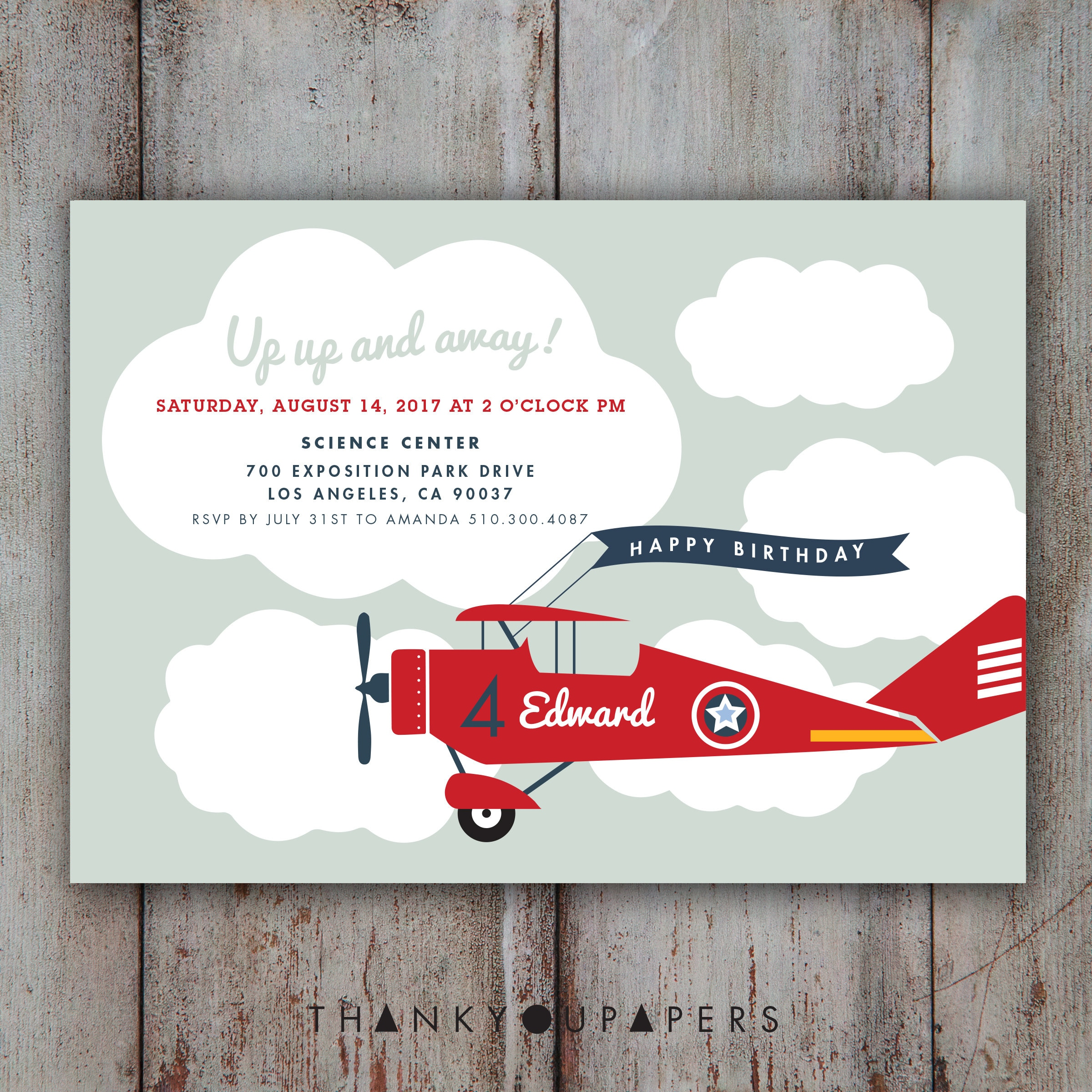 Airplane Invitation Airplane Birthday Invitation Airplane | Etsy