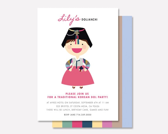 Korean first birthday invitation custom girls korean dol etsy image 0 filmwisefo