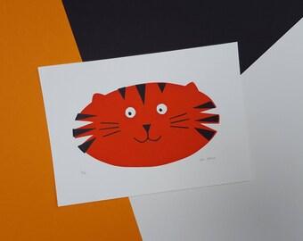 Tiger Screenprint - Hand Printed, Limited Run (18) - Unframed - Nursery or Child's Room Art Decor