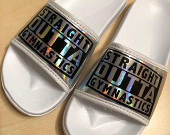 SIZE 3 to 4 - UK Kids/Teens/Youths - Super cute holographic star 'Straight Outta Gymnastics' / Personalised sliders