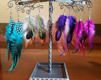 Handmade Feather Earrings~Boho Feather Earring~Real Feather Earrings~Teal~Brown~Purple~Hot Pink~Grizzly Feather Earrings For Her or Him