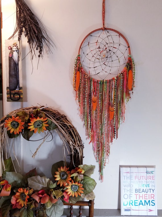 Boho Gypsy Decor Large Dreamcatcher Wall Hanging Rainbow Dream Catcher W Teal Quartz Crystal From Carriage House Dreams