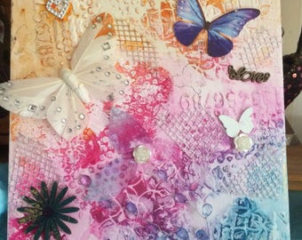 """Love of butterflies """" mixed canvas original art .. free postage to anywhere in UK"""