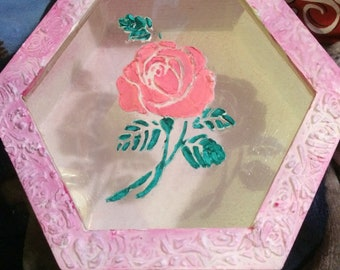 Mixed media hand moulded rose jewellery box