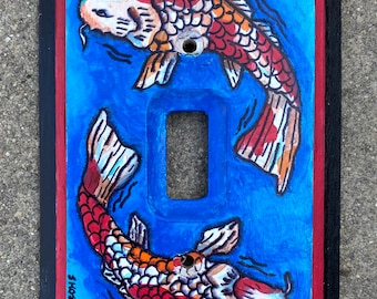 Hand Painted Light Switch Plate with Koi Fish (2)