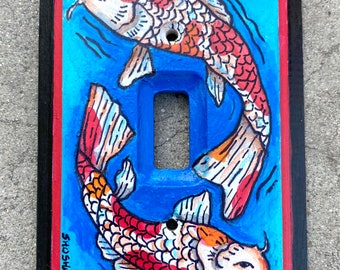Hand Painted Light Switch Plate with Koi Fish
