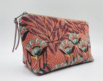 Cosmetic bag rust brown, make-up bag flowers, makeup bags makeup ,culture bag cotton