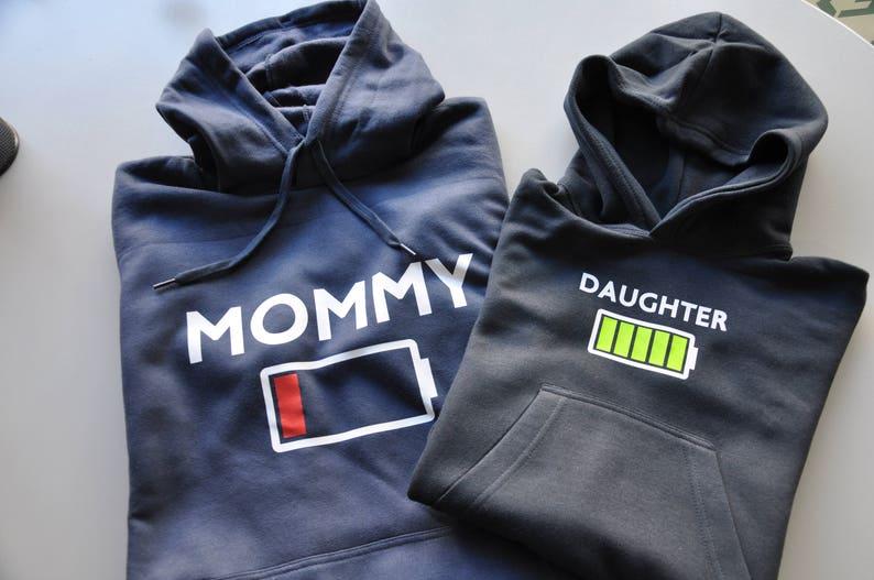 Mom Hoodie And Daughter Hoodie / Battery Stamp / Mommy And Me / Mommy and  Daughter Outfits / Mommy Battery Empty-Daughter Full Hoodie