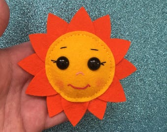 ad62e0ea664 Sunshine Flower Brooch Sunflower Cute Kawaii Charm Handmade OOAK Felt  Accesories Pin Badge