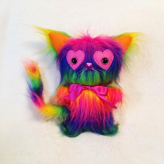 Regenbogen Liebe Kätzchen Plüsch Katze Spielzeug OOAK Puppe   Etsy