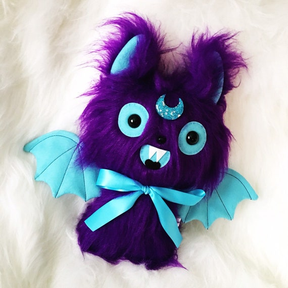 Purple Mystic Moon Bat Plush Toy - Kawaii Plushie - Weird Stuffed Animals -  Creepy Cute Plush - Fairy Kei - Pastel Goth