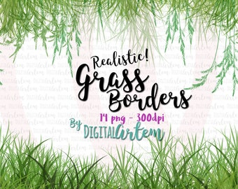 Grass borders Clipart - Grass clipart - Realistic grass - Seamless grassy borders - Wild grass - Straw - Grass - Commercial use - Watercolor