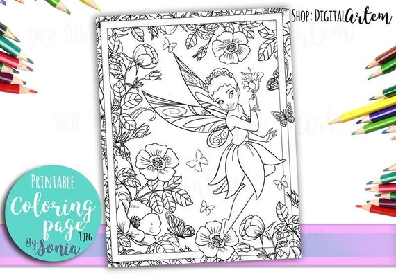 Fairy Coloring Page Flower Garden Colouring Page Fairies Etsy
