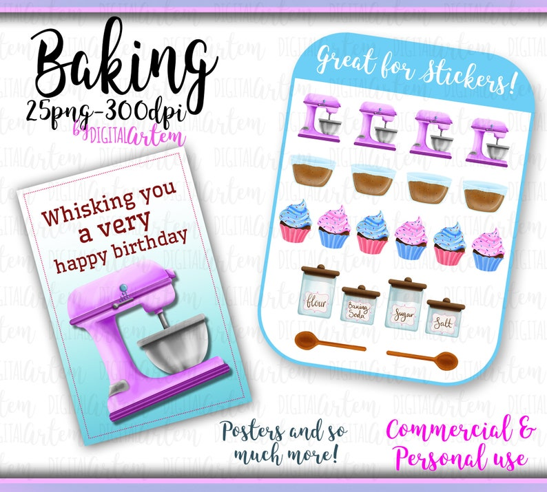 png images Mixer Baking clipart Dough Cupcakes cake Oven Food Desserts Cooking Clipart Rolling pin Watercolor clipart