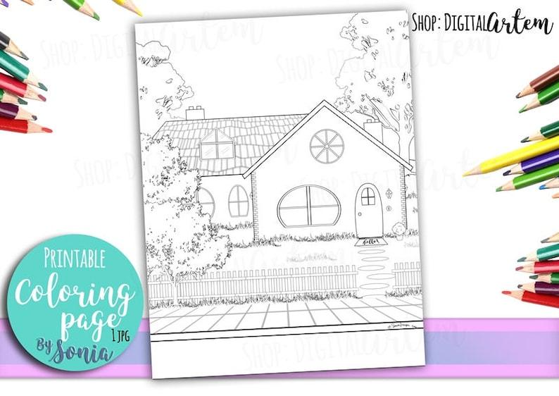 Coloriage Adulte Maison De Campagne Coloration Cottage Page Etsy