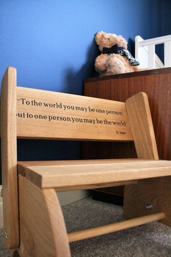 Awe Inspiring Wooden Personalised Child Oak Chair Step Stool Toddlers Baby Engraved Furniture Nursery Furniture Christening Baptism Birthday Pdpeps Interior Chair Design Pdpepsorg