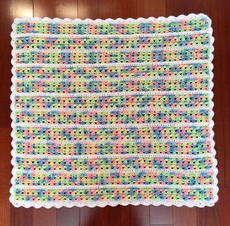Free Shipping Crochet Rainbow Gender Neutral Baby Blanket