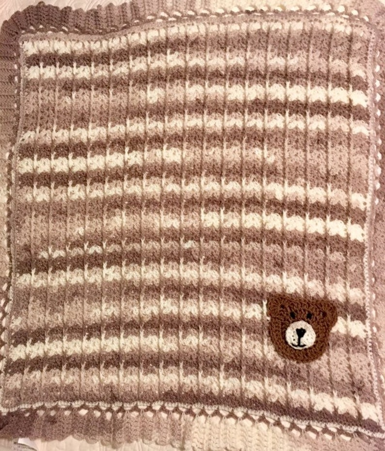 Crochet Baby Boy Brown Teddy Bear Blanket