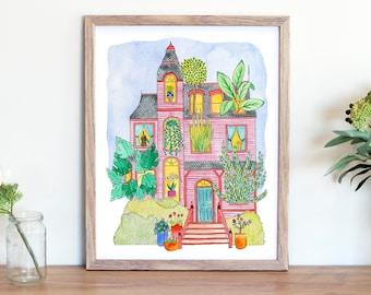 Plant Lady Victorian House - Fine Art Print - Botanical Illustration