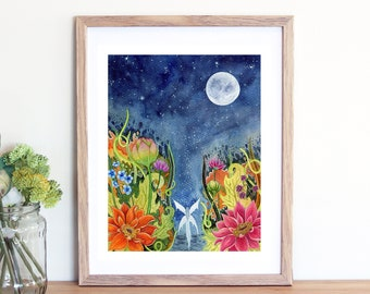 """Magical Fairy Garden Full Moon Fantasy Watercolor Painting - 8x10"""" Inches Fine Art Print"""