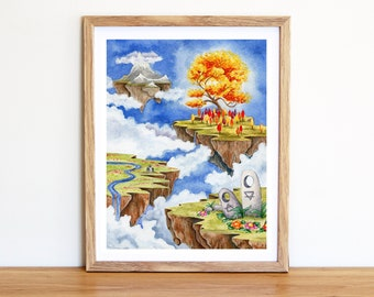 Floating Islands in the Sky - Fine Art Print - Fantasy Art Print