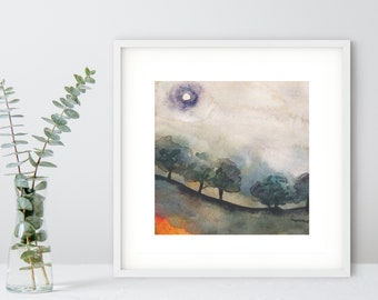 Wuthered Heights - Forest Fall Autumn Toned Watercolor Painting - Fine Art Print
