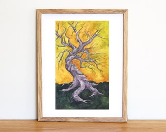 Twisted Tree Mixed Media Painting - Fine Art Print - Fantasy Art Print