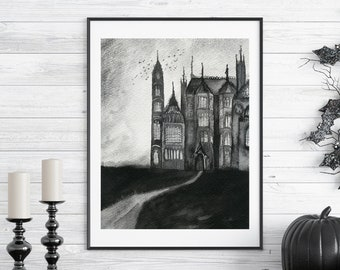 """Spooky Gothic Mansion Watercolor Art Print - 8x10"""" Inches Fine Art Print  - Gothic Horror Inspired Art Print"""