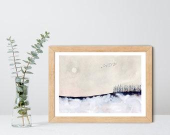 Winter Light - Fine Art Print - Winter snowy watercolor landscape painting