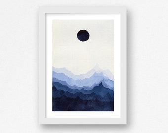Serene Blue Mountains - Fine Art Print - Minimalist Art Print