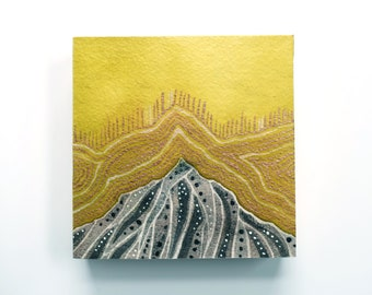 """Modern Mountain Watercolor Painting - Original Painting - 4""""  by 4"""" - Wood Panel Painting - Green Gold Copper Embellished"""