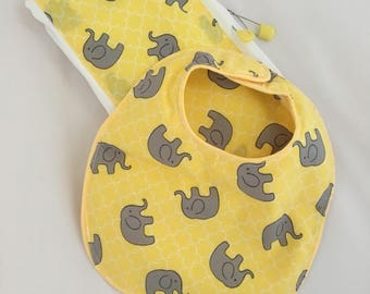 yellow and gray elephant cloth diaper/Burpee cloth with matching bib