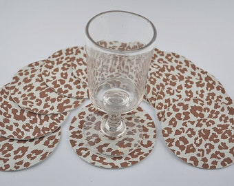 10 cowhide leather coasters leopard