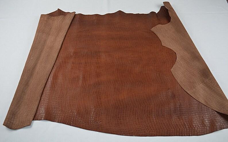 Half skin caramel crocodile print cowhide fantasy leather
