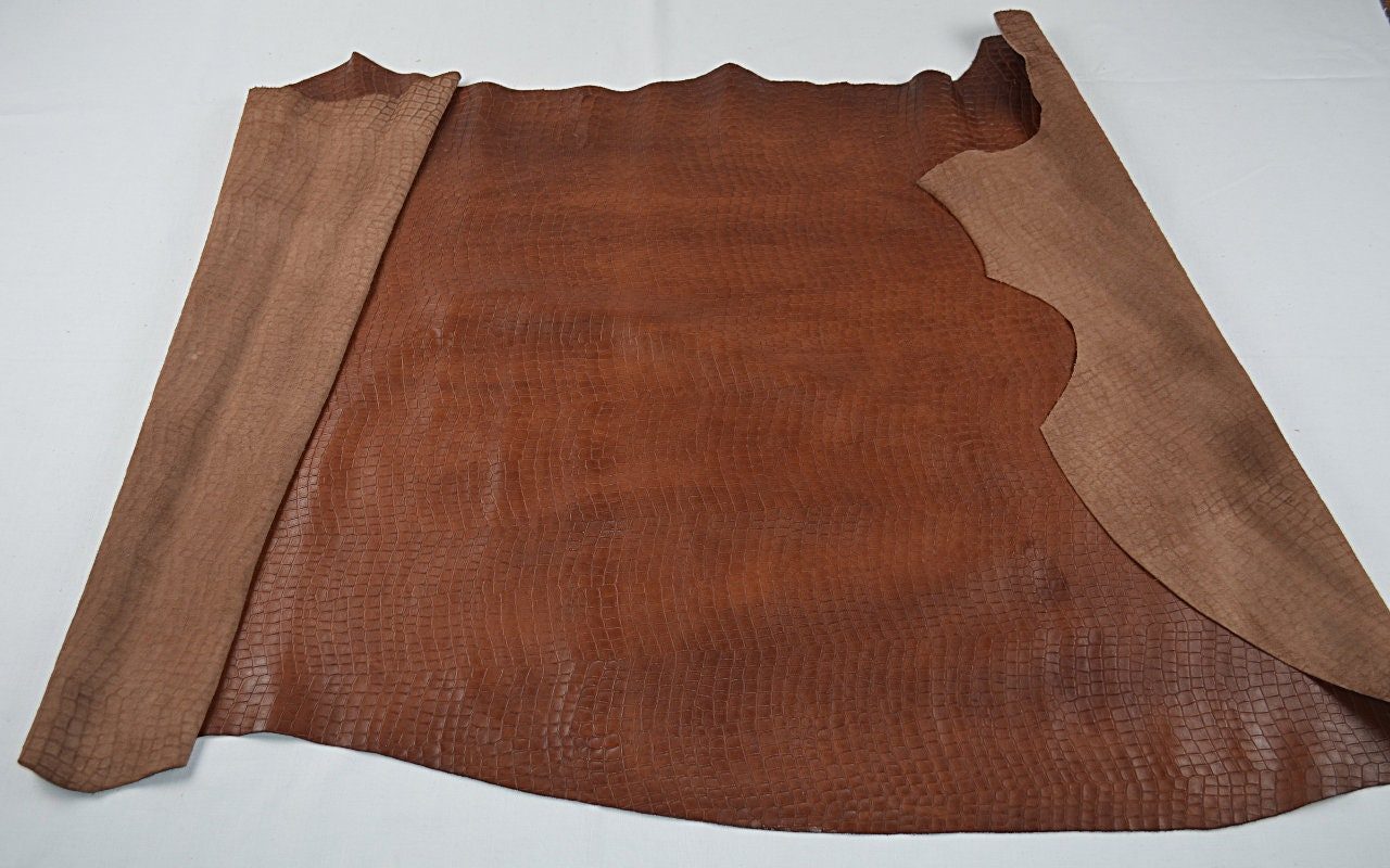Demi peau de vachette caramel imprimé crocodile - - - cuir fantaisie 23a7d0