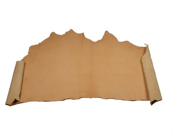 Half cow skin - vegetable tanning leather - natural color